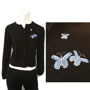 1990's Black Crewneck Cardigan Butterfly Sweater